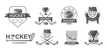 hockeymästerskap stora set logotyper i svartvit stil. tävling för sportemblem. vektor