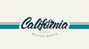 Kalifornien Malibu Strand mit Palmen. T-Shirt Design für den Druck. Vektor Mode Illustration
