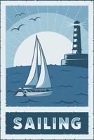segling skyltar affisch retro rustik klassisk vektor