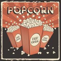 rustikaler Vektor des Popcorn-Beschilderungsplakats Retro