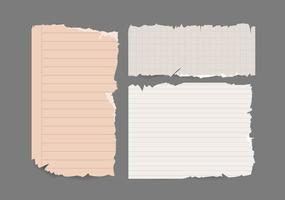 Notizbuch zerrissenes Papier zerrissenes Set. Sammelalbum Notizstücke zerrissenes Papier. Vektorpapier verschiedene Formen vektor