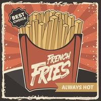 Fast-Food-Pommes-Frites-Kartoffel-Beschilderungsplakat Retro rustikaler klassischer Vektor