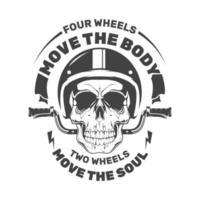 Motorradschädel mit Helm. Motorrad Emblem. Illustration für T-Shirt Druck. Vektor Mode Illustration