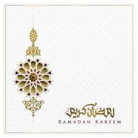 Ramadan Kareem Grußkarte islamisches Blumenmuster Vektor-Design mit arabischer Kalligraphie für Hintergrund, Banner. Übersetzung des Textes Ramadan Kareem - möge Großzügigkeit Sie während des heiligen Monats segnen vektor