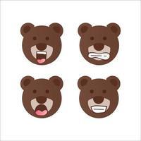 björn ansikte leende samling tecknad design vektor