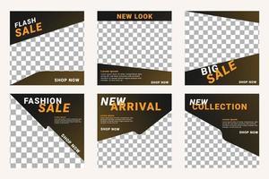 uppsättning redigerbar minimal kvadratisk banner mall. svart och gul bakgrundsfärg med randlinjeform. vektor