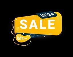 Werbeverkauf Banner Vorlage Design. Super Sale, 50 Prozent Rabatt. vektor