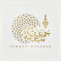 Jummah Mubarak Gruß islamisches Blumenmuster Vektor-Design mit arabischer Kalligraphie vektor