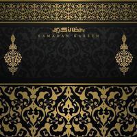 ramadan kareem gratulationskort islamisk blommönster vektor design med arabisk kalligrafi för bakgrund, banner, tapet, omslag. översättning av text välsignad festival