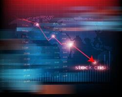 Börsenanalyse oder Forex-Grafik Geschäft und Finanzgeld verlieren bewegliche wirtschaftliche Inflation Deflation Investitionsverlust Crash vektor