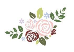 vacker rosa och röd bukett ros och blad vektor