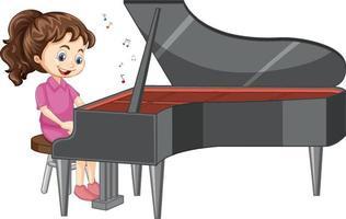 eine Mädchenzeichentrickfigur, die Klavier spielt vektor