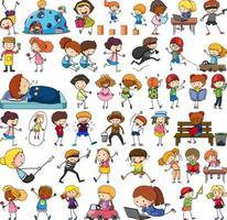 Satz verschiedene Gekritzelkinder Zeichentrickfigur isoliert vektor