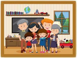 glückliche familie im wohnzimmer szenenfoto in einem rahmen vektor