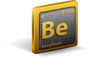 chemisches Berylliumelement. chemisches Symbol mit Ordnungszahl und Atommasse. vektor