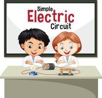 Wissenschaftler erklärt einfachen Stromkreis vektor