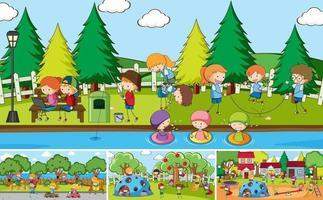 utomhus scen med många barn doodle seriefigur