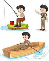 Zeichentrickfigur eines Jungen in Camping-Outfits, die verschiedene Aktivitäten ausführen vektor
