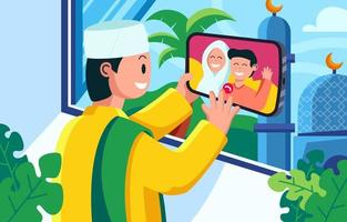 online-möte eid mubarak firande med familjen vektor