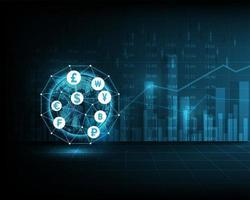 Börsenindex-Symbol oder Geschäftsdiagramm des Weltfinanznetzwerks vektor