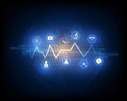 Gesundheitsikone und globales medizinisches Innovationskonzept vektor