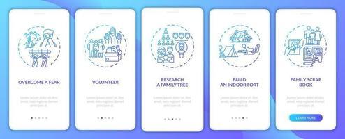 Tipps zur Familienbindung Onboarding des Bildschirms der mobilen App-Seite mit Konzepten vektor