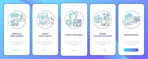 Indoor Familienaktivitäten Onboarding Mobile App Seite Bildschirm mit Konzepten vektor