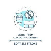 byta från kontakter till glasögon konceptikon vektor
