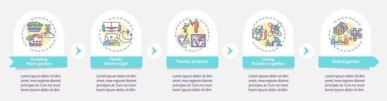 inomhus familj aktiviteter vektor infographic mall