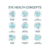 ögon hälsa koncept ikoner set vektor