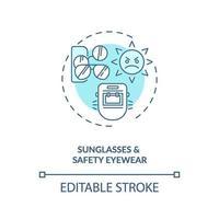 Sonnenbrille und Schutzbrillen-Konzeptikone