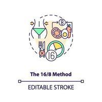 das Symbol für das 16-8-Methodenkonzept vektor