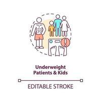 underviktiga patienter och barn koncept ikon vektor