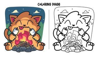 Katze Braten Marshmallow in der Nacht Malvorlagen vektor