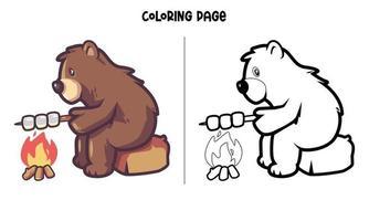 Björn rosta marshmallow målarbok vektor