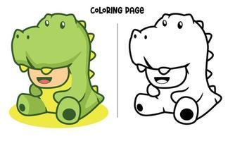 grön dinosaurie cosplay målarbok vektor
