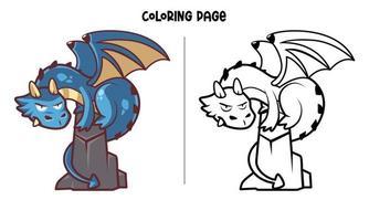 blå drake som står på klippan målarbok vektor