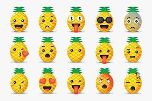 uppsättning söt ananas med uttryckssymboler