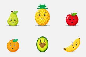 Satz von niedlichen lächelnden Fruchtgesichtern vektor