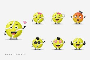 süßes Tennisball-Maskottchen-Set vektor
