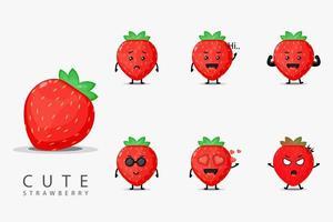 süßes Erdbeermaskottchenset vektor