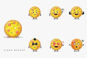 süßes Pizza Maskottchen Set vektor