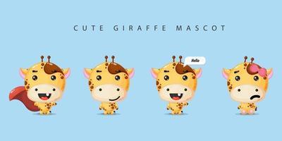 Satz niedliches Giraffenmaskottchen vektor