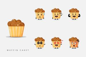 Satz niedliche Maskottchen-Muffins vektor