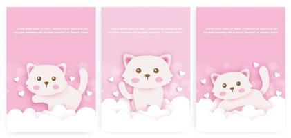 Satz Babypartykarten und Geburtstagskarten mit niedlicher Katze im Papierschnittstil. vektor