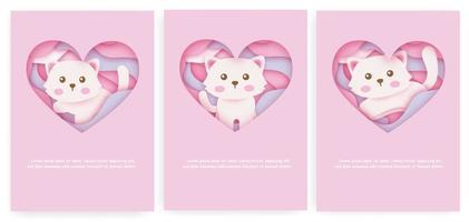 uppsättning baby shower kort och födelsedagskort med söt katt i pappersskuren stil.