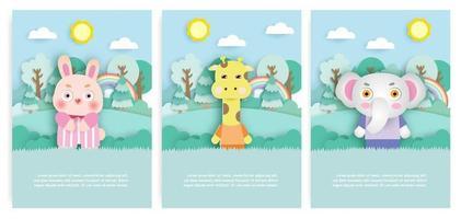 Satz Geburtstagskarten mit niedlichem Kaninchen, Giraffe und Elefant im Wald im Papierschnittstil. vektor