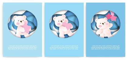 Satz Grußkarten mit niedlichem Teddybär in Pastellfarbe. vektor