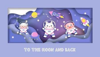 Babypartykarte mit niedlichen Tieren in der Galaxie vektor