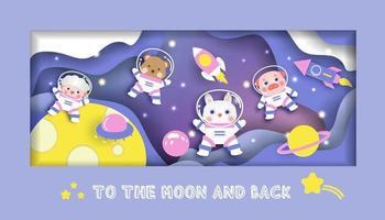 Babypartykarte mit niedlichen Tieren in der Galaxie für Geburtstagskarte vektor